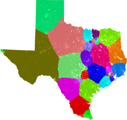 Texas Congress congressional district map, current and my way