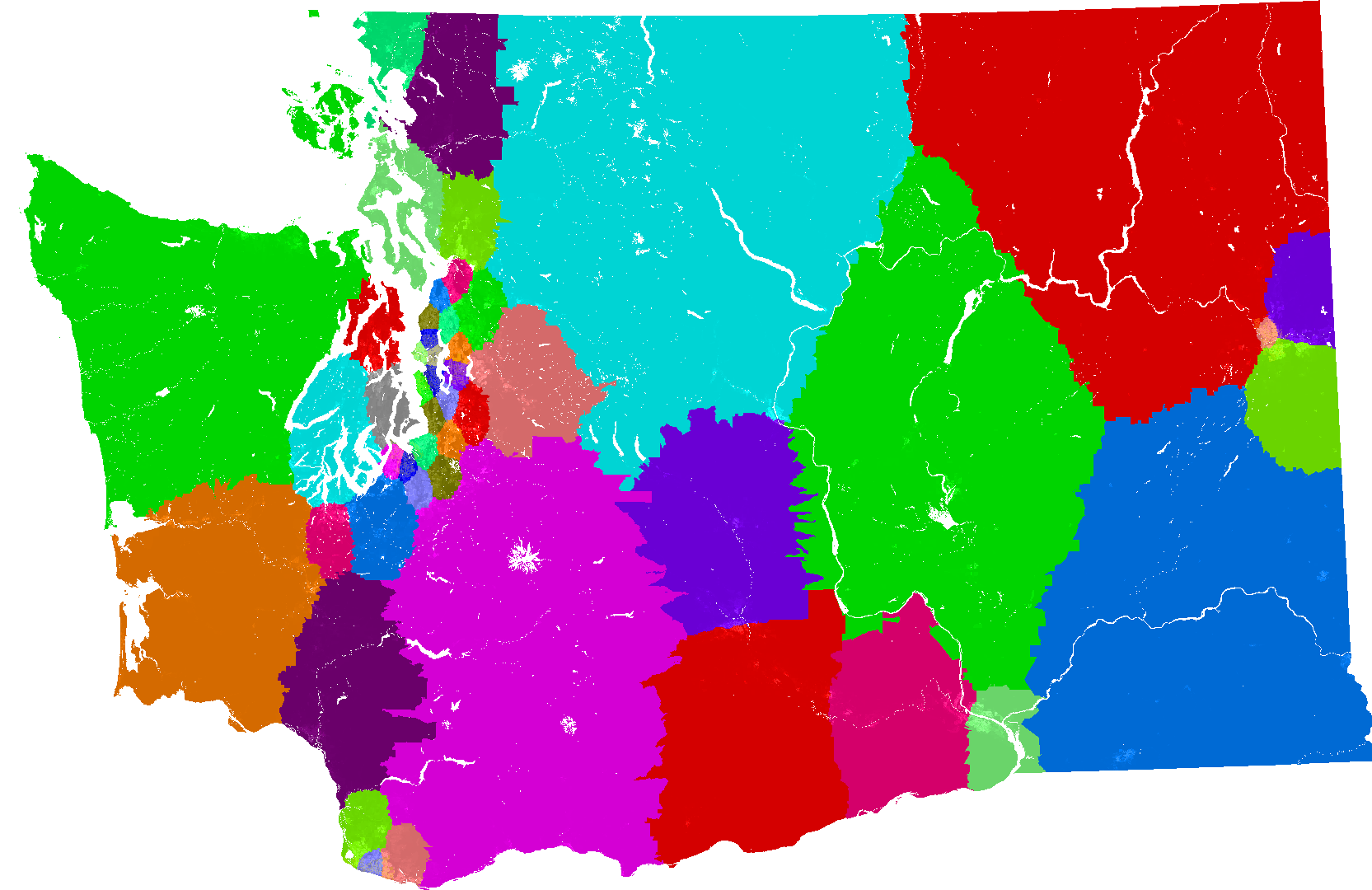Us Congressional Districts Redrawn By A Computer To Eliminate Map Washington State Legislative Districts